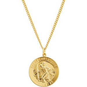 """24K Gold Plated Sterling Silver 25 mm St. Christopher Medal 24"""" Necklace"""