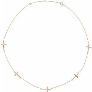 "14K Rose .08 CTW Diamond 5-Station Cross 16-18"" Necklace"