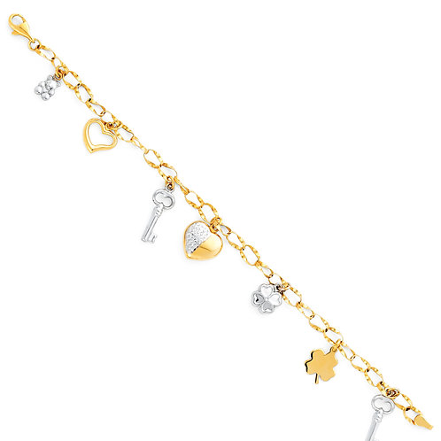 14K Two Tone Gold Charm Bracelet