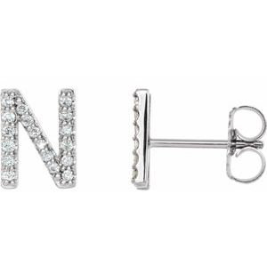 14K White .07 CTW Diamond Single Initial N Earring