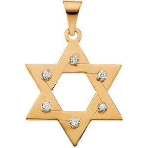 14K Yellow .06 CTW Diamond Star of David Pendant