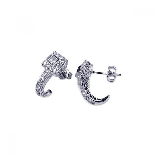 925 Rhodium Plated Crescent Micro Pave Clear CZ Stud Post Earrings