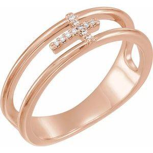 14K Rose .03 CTW Diamond Negative Space Cross Ring