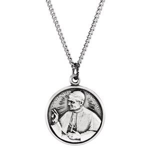 """Sterling Silver 25 mm Round Pope John Paul II 18"""" Necklace"""