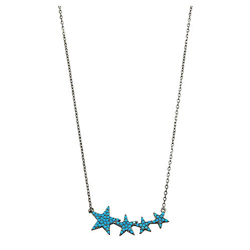 925 Black Rhodium Plated Four Star Necklace with Turquoise CZ Stones