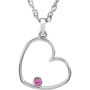 "Sterling Silver Pink Cubic Zirconia Heart 18"" Necklace"