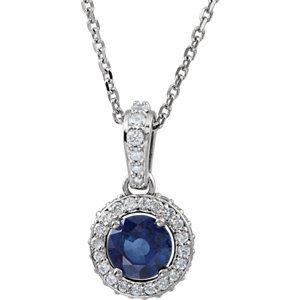 "14K White Blue Sapphire & 1/5 CTW Diamond 18"" Necklace"