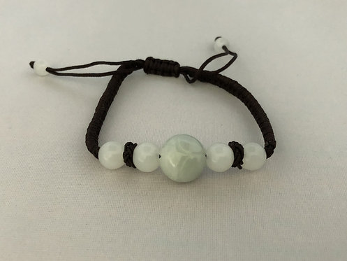 Jadeite beads adjustable bracelet