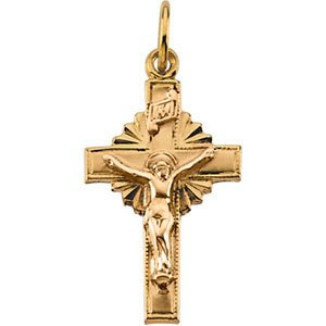 14K Yellow 15x10 mm Hollow Crucifix Pendant