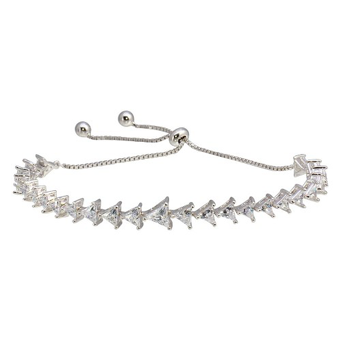 925 Rhodium Plated Clear CZ Triangle Lariat Bracelet