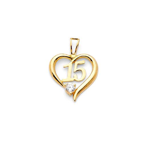14KY CZ 15 YRS HEART PENDANT (PT719)