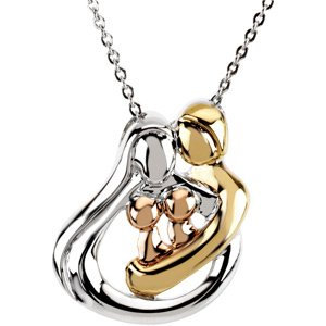 "18K Yellow Gold/Rose-PlatedSterling Silver 2 Child Family 18"" Necklace"