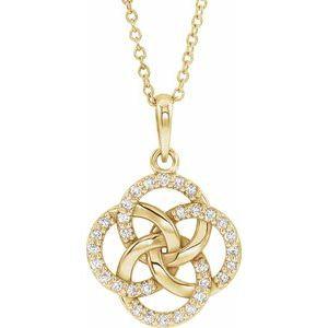 14K Yellow 1/8 CTW Diamond Five-Fold Celtic Necklace