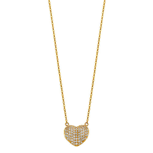 14K Gold Fancy Heart Necklace with CZ Stone