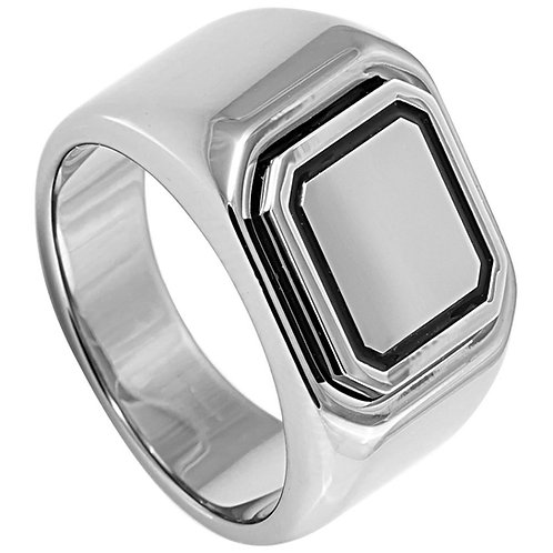 High Polished Tungsten Signet Ring - top width: 15mm, bottom width: 7mm