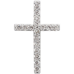 14K White 1/6 CTW Petite Diamond Cross Pendant
