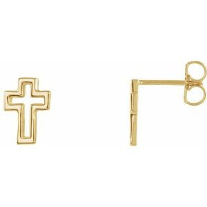 14K Yellow Open Cross Earrings
