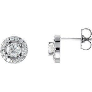 14K White 7/8 CTW Diamond Halo-Style Earrings