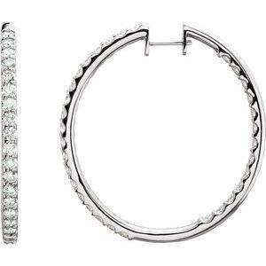 14K White 5 CTW Diamond Inside-Outside Hinged 44 mm Hoop Earrings