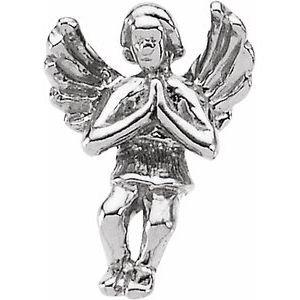 14K White 12x9 mm Praying Angel Lapel Pin