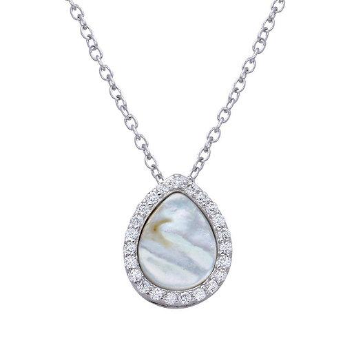 Teardrop Opal Cubic Zirconia Sterling Silver Rhodium Plated Pendant