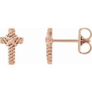 14K Rose Rope Cross Earrings