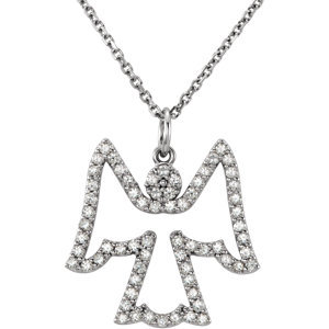 "14K White 1/3 CTW Diamond Angel 16"" Necklace"