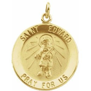 14K Yellow 18 mm Round St. Edward Medal