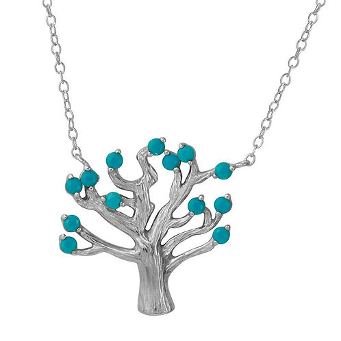 Turquoise Tree Sterling Silver Necklace