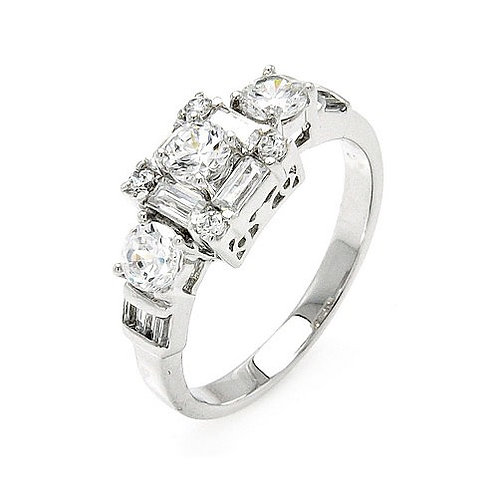 925 Rhodium Plated Clear Round and Baguette CZ Bridal Ring