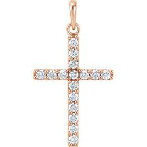 14K Rose 1/2 CTW Diamond Cross Pendant
