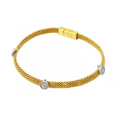 925 Gold Plated Round Clear CZ Beaded Italian Bracelet