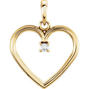10K Yellow .02 CTW Diamond Heart Pendant