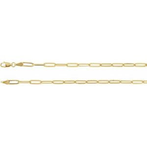 "18K Yellow Gold-Plated Sterling Silver 3.85 mm Elongated Flat Link 16"" Chain"