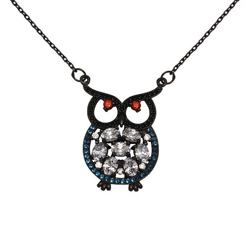 925 Black Rhodium Plated Owl with Multi-Colored CZ