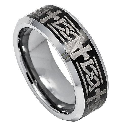 Beveled Edge Ring with Celtic Cross Engraved on High Polished/Shiny Black - 8mm