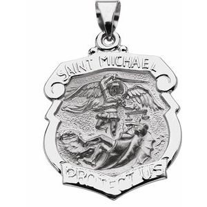 14K White 25x21 mm Hollow St. Michael Medal