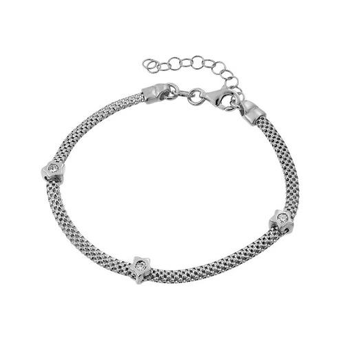 925 Rhodium Plated Three Clear CZ Bracelet