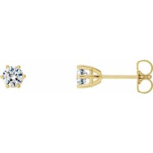 14K Yellow 5 mm SI2-SI3 1 CTW Diamond 6-Prong Wire Basket Earrings