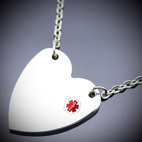 Brushed Heart Medical ID Charm Black Cord Necklace