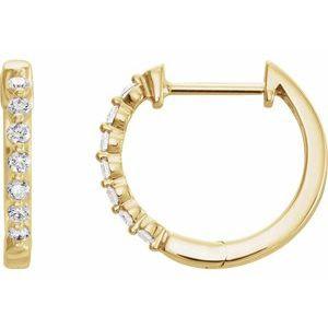 14K Yellow 1/3 CTW Diamond 15.25 mm Hoop Earrings
