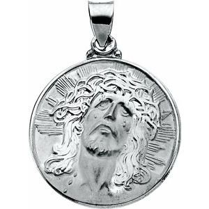 14K White 23 mm Hollow Face of Jesus (Ecce Homo) Pendant