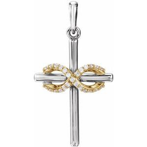14K White & Yellow .06 CTW Diamond Infinity-Inspired Cross Pendant