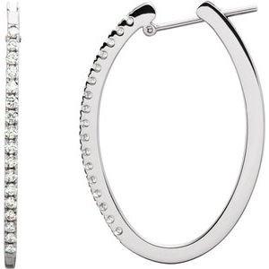 14K Rose 1/3 CTW Diamond Hoop Earrings