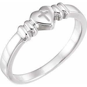 14K White Heart & Cross Chastity Ring Size 7