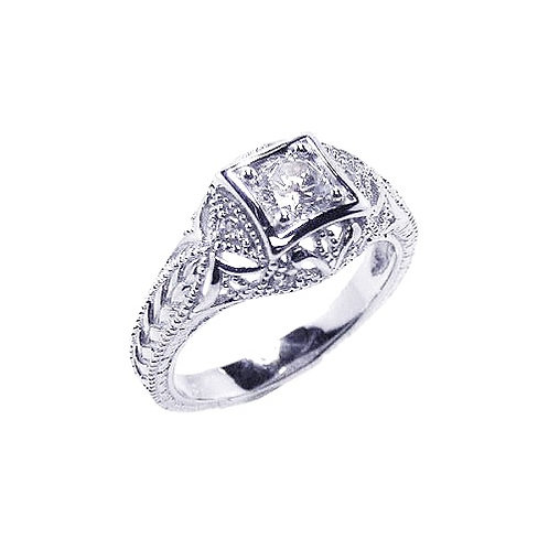 925 Rhodium Plated Clear CZ Inlay Antique Ring