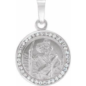 14K White Created White Sapphire St. Christopher Medal