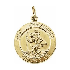 14K Yellow 15 mm St. Christopher Medal