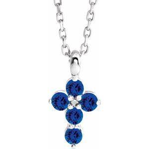 "14K White Blue Sapphire Cross 16-18"" Necklace"