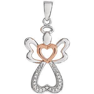 Sterling Silver &  14K Rose Gold Vermeil 28x12.6 mm Diamond Angel Pendant
